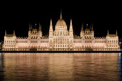 Hungarian Parliament by night in Budapest Stock Photo