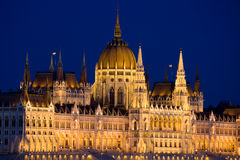 Hungarian Parliament by Night in Budapest Stock Photos