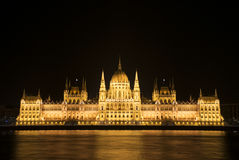 HUNGARIAN PARLIAMENT IN BUDAPEST AT NIGHT Stock Photography