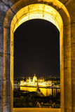 Hungarian Parliament at night in Budapest. royalty free stock photos