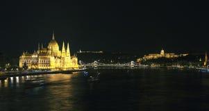 Hungarian Parliament at night Stock Photos