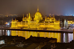 Hungarian Parliament night view, Budapest, Hungary Stock Photography