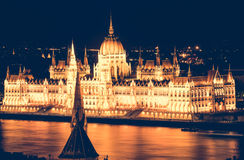 Hungarian Parliament at nighttime Stock Images