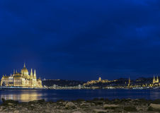 HUNGARIAN PARLIAMENT AT NIGHT Royalty Free Stock Photo