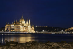 HUNGARIAN PARLIAMENT AT NIGHT Stock Photo