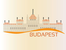 Hungarian Parliament. (The Parlament) building at Budapest, dotted style illustration Royalty Free Stock Photos