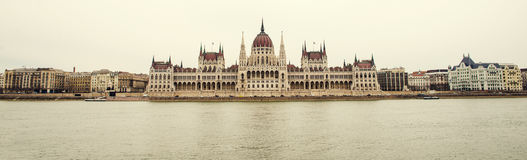 Hungarian Parliament on the river bank Stock Photos