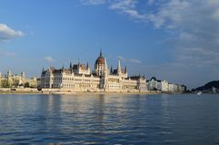Hungarian Parliament. From the river Danube Stock Image