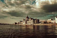 Hungarian Parliament. The Hungarian Parliament from the river Danube Stock Photos