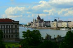 Hungarian parliament in the distance. The Hungarian parliament in it`s total majesty. This little effect let the buyer focus on the building and use the collar royalty free stock image