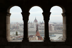 Hungarian Parliament seen from the Fisherman's Bastion in Budape Royalty Free Stock Images