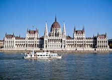 Hungarian Parliament with a ship Stock Photos