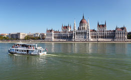 Hungarian parliament with ship Royalty Free Stock Photography