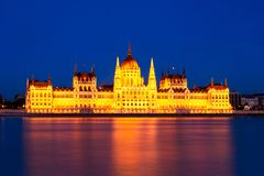 Hungarian Parliament skyline at sunset, Budapest royalty free stock photography