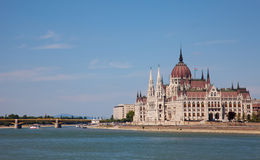 Hungarian Parliament in a sunny day Stock Images