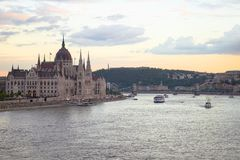 Hungarian Parliament at sunset royalty free stock photos