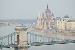 Hungarian Parliament with view of Chain Bridge Stock Photo