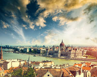 Hungarian Parliament view from fishermen Bastion Stock Photos