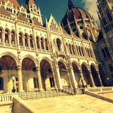 Hungarian Parliament. The hungarian parliament from the warf of the Duna Royalty Free Stock Photos
