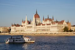 Hungarian parliament and a water-bus in Budapest Royalty Free Stock Photo