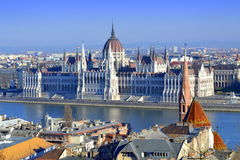 Hungarian Parliament. The worldwide best known building of Budapest, the Hungarian Parliament in Neo-Gothic style completed in 1904 and Danube riversides Stock Images
