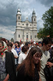 Hungarian pilgrims celebrating the Pentecost Royalty Free Stock Image