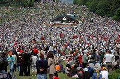 Hungarian pilgrims celebrating the Pentecost Stock Images
