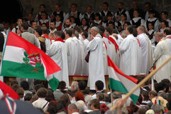 Hungarian pilgrims celebrating the Pentecost Stock Photography