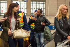 Hungarian police detain one of Syrian refugees at Budapest Keleti railway station. Royalty Free Stock Photos