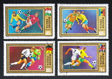 Hungarian postage stamps with football players. Used Hungarian postage stamps released in 1972, depicting football (soccer) players from different countries Royalty Free Stock Images