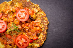 Hungarian potato pancake with goulash stock image