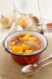 Hungarian potato soup with chicken drumstick Royalty Free Stock Photos