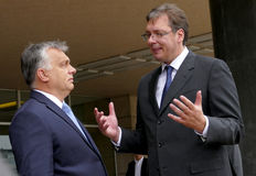Hungarian Prime Minister Viktor Orban at the official visit to Aleksandar Vucic Stock Photography