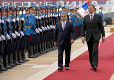 Hungarian Prime Minister Viktor Orban at the official visit to Aleksandar Vucic Stock Photo
