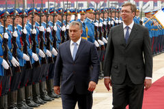 Hungarian Prime Minister Viktor Orban at the official visit to Aleksandar Vucic Stock Image