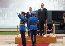 Hungarian Prime Minister Viktor Orban at the official visit to Aleksandar Vucic Royalty Free Stock Photos