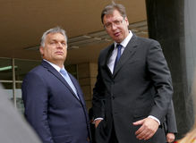 Hungarian Prime Minister Viktor Orban at the official visit to Aleksandar Vucic royalty free stock images