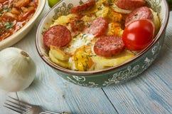 Hungarian Rakott Krumpli. Rakott Krumpli , Layered potato casserole, Hungarian cuisine, Traditional assorted dishes, Top view royalty free stock image