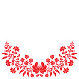 Hungarian red floral folk pattern - Kalocsai embroidery with flowers and paprika Stock Images