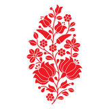 Hungarian red folk pattern - Kalocsai embroidery with flowers and paprika Stock Photography