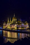 Hungarian residency parliament at night Stock Images