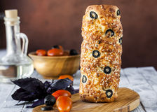 Hungarian a round loaf with olives and cheese Royalty Free Stock Photo