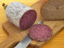 Hungarian salami. Covered by thin layer of edible delicious mold. With bread Royalty Free Stock Photography