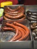 Hungarian Sausage. Various Hungarian sausages on a counter Stock Image