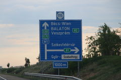 Hungarian sign indication to Wien on M1 Stock Photos