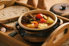 Hungarian soup goulash bograch with dumplings. royalty free stock images