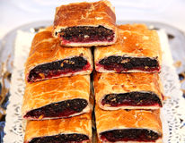Hungarian specialty stuffed strudel with poppy seeds Royalty Free Stock Photos