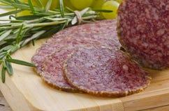 Hungarian spicy salami Stock Photo