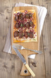 Hungarian tarte flambee with kolzbasz Stock Photos