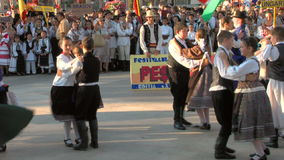 Hungarian traditional dance at the International Folklore Festival stock footage